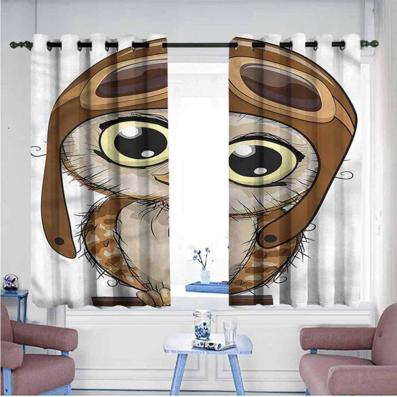 Mdxizc Noise Reduction Curtain Owls Pilot Hat Big Eyes Comic Decor Curtains