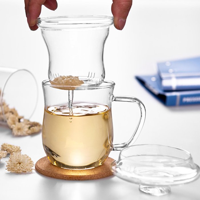 Three Piece Glass Tea Infuser Set