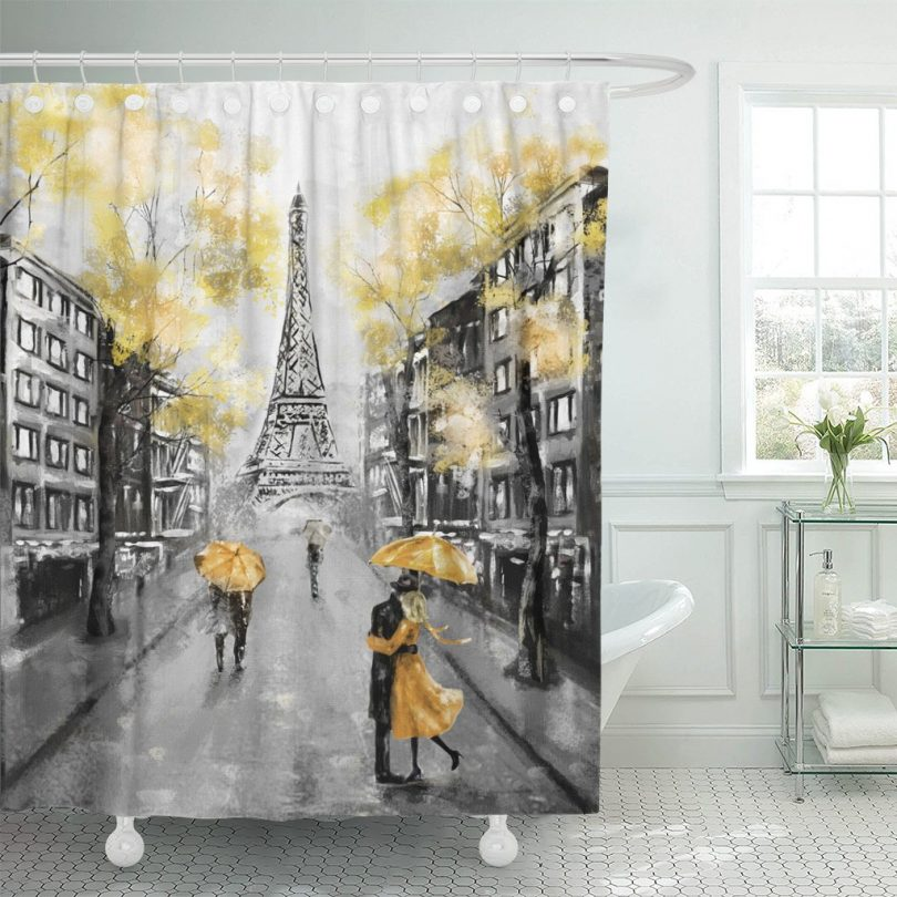 Emvency Shower Curtain Oil Painting Paris