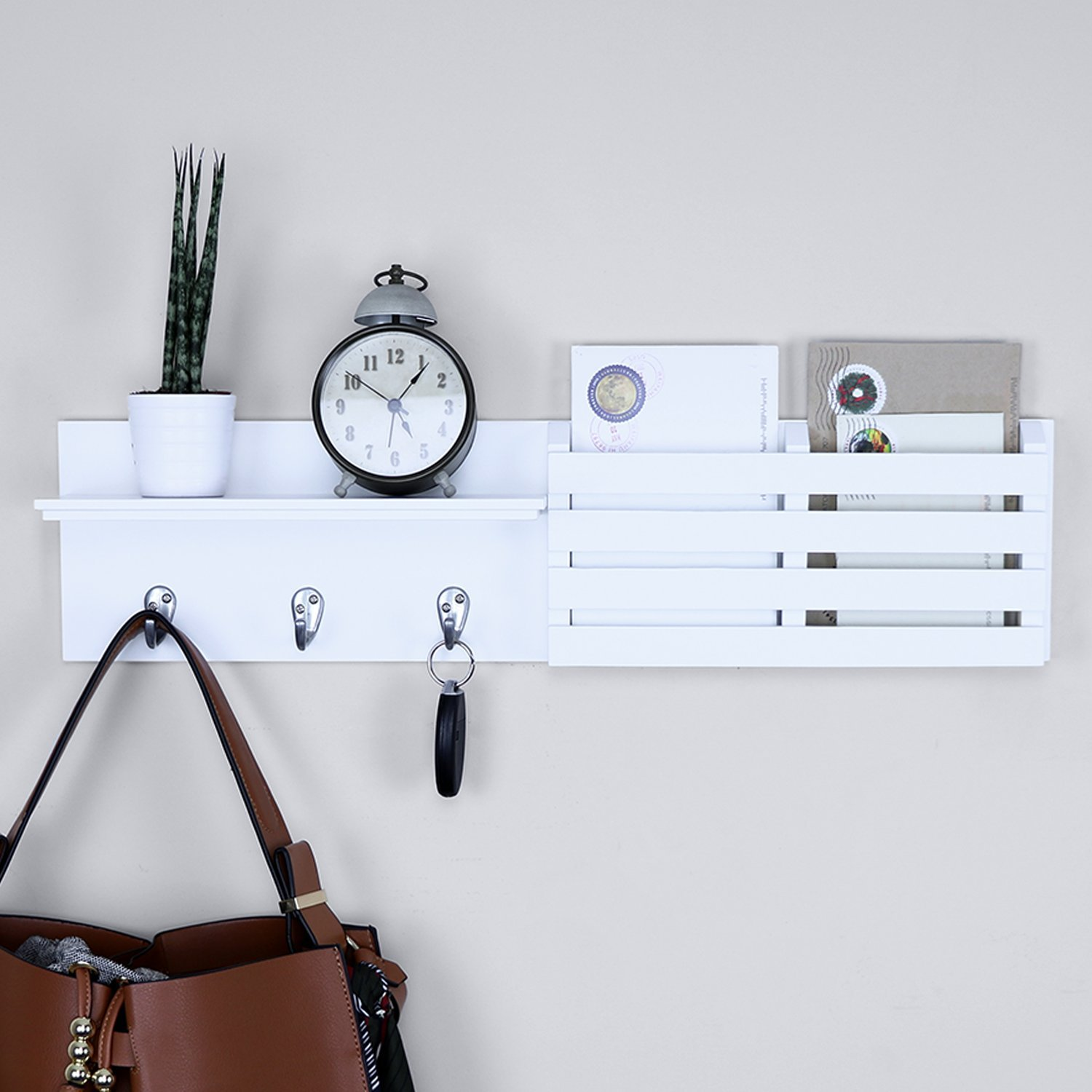 Ballucci Mail Holder and Coat Key Rack Wall Shelf