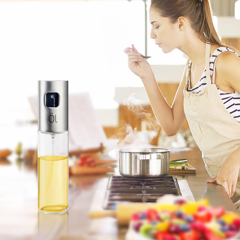 orlanPortable Olive Oil Sprayer Dispenser for Cooking/BBQ/Salad/Stainless Steel Grilling Oil glass Bottle