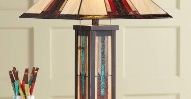Ranier Mission Table Lamp with Nightlight Bronze Stained Glass