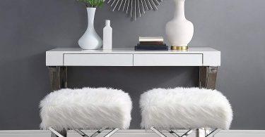 Aurora Faux Fur X-Leg Ottoman