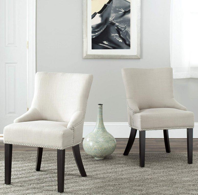 Safavieh Mercer Collection Christine Beige Viscose Nailhead Dining Chair