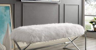 Aurora Faux Fur X-Leg Bench