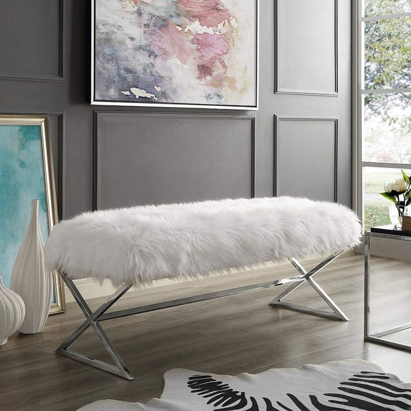 Aurora Faux Fur X-Leg Bench