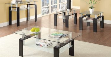 Coaster Glass Top Square End Table in Black