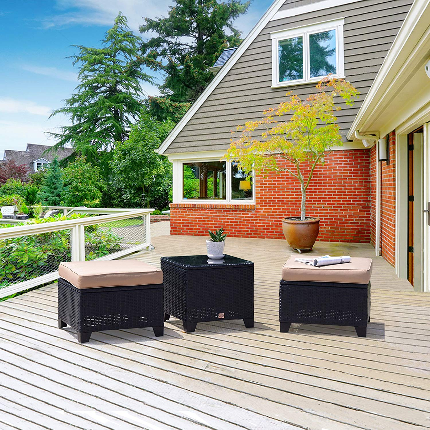 Westwood 3 PC Outdoor Patio Wicker Ottoman Table Set
