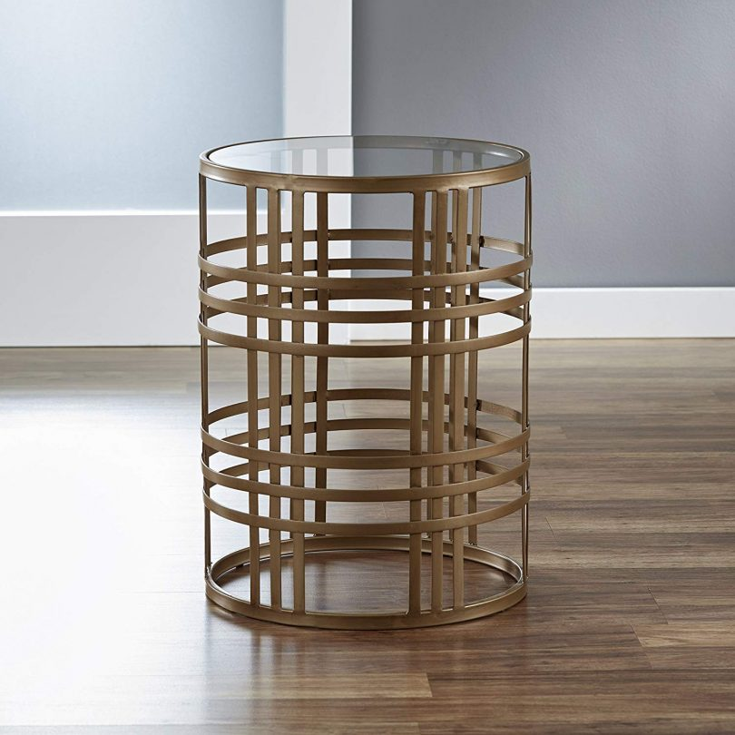 FirsTime & Co. Brass Finish Weave Side Table with Glass Tabletop