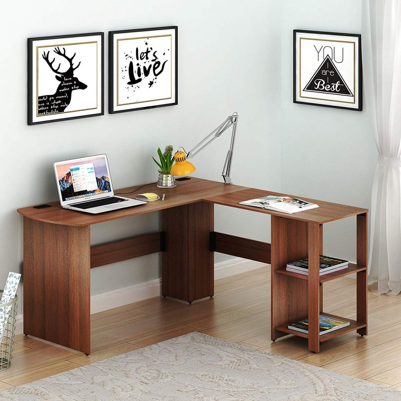 SHW L-Shaped Home Office Corner Desk Wood Top
