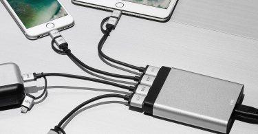 AluCharge 4-Port USB Minimalist Desktop Charger Aluminum