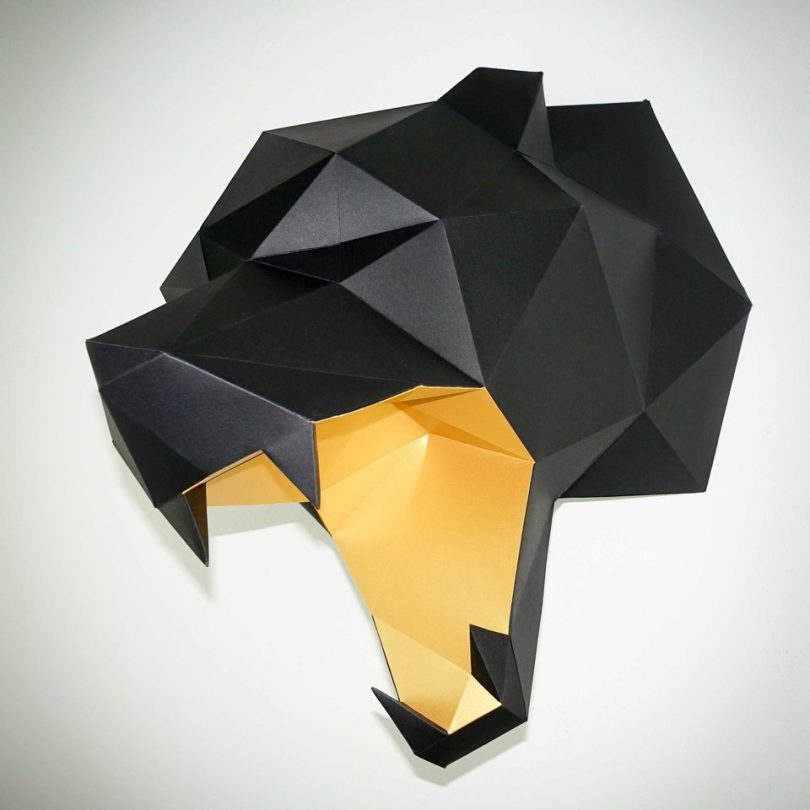 Black & Gold Bear Head Papertrophy
