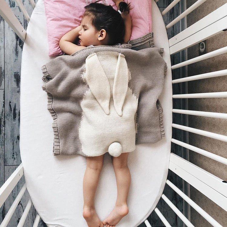 Knitted Rabbit Ears Baby Blanket
