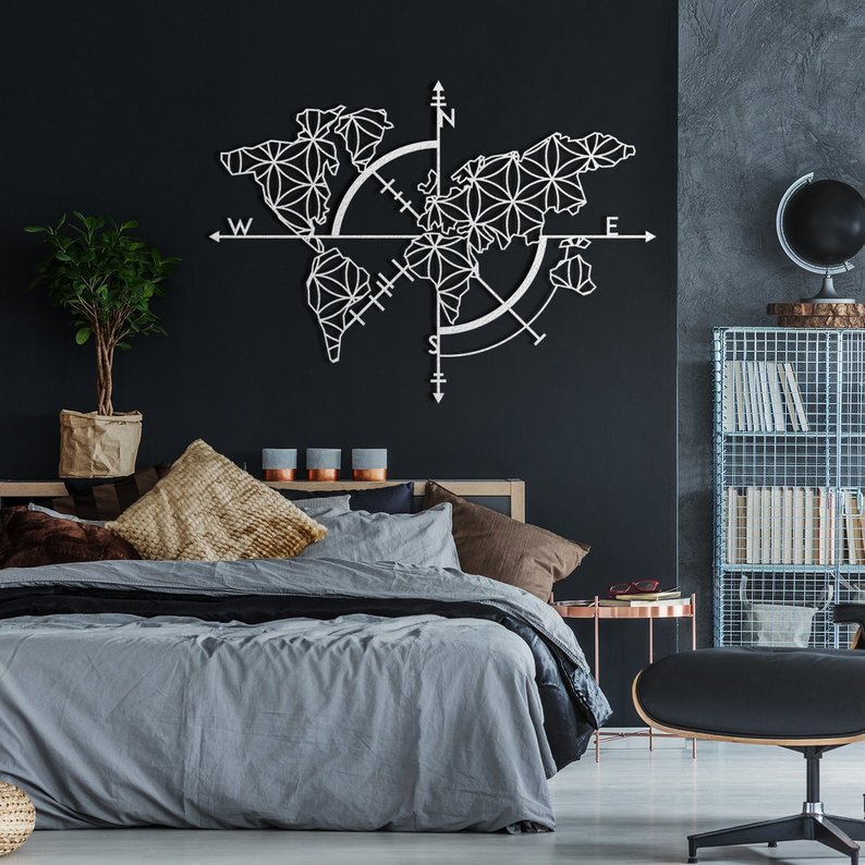 Map of Life ' White – Metal World Map Wall Art