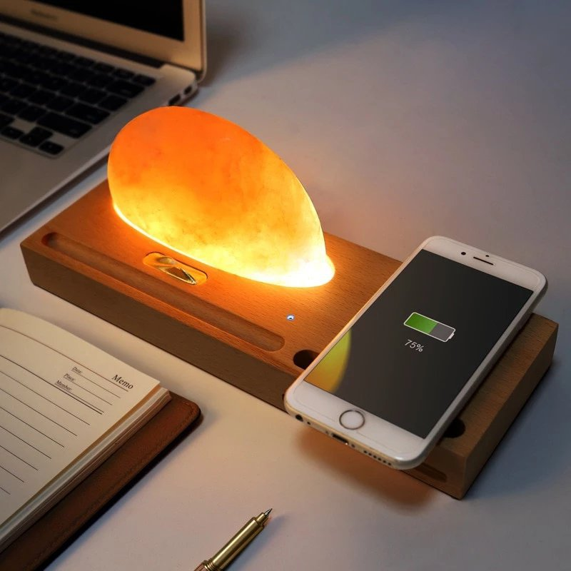 Sunrise Scene Himalayan Salt Led Lamp with Wireless Charger