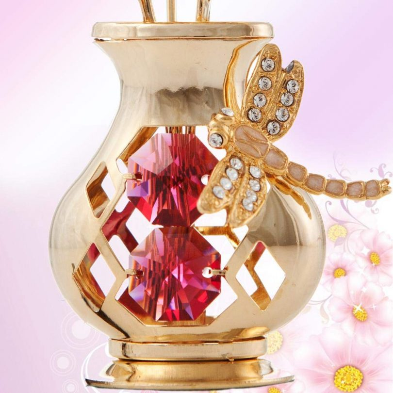 Matashi 24k Gold-Dipped Tulips with Dragonfly and Crystals Vase Table Ornament Red