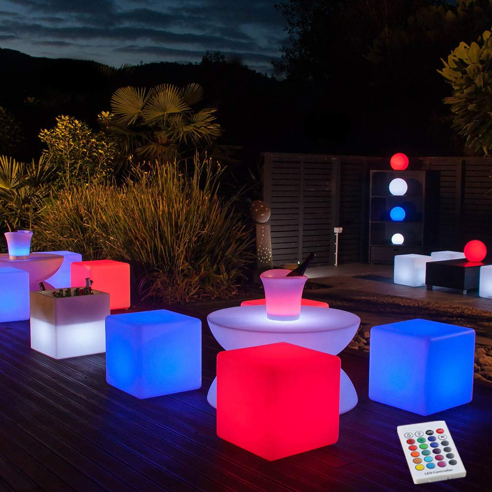 YESIE 16-Inch Cordless LED Cube Chair Light
