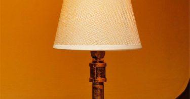 Desk Lamp Industrial Retro DIY Burlap Shade Rustic Copper Wrought Iron Water Pipe