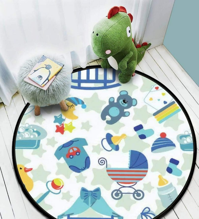 Kids Round Area Rugs Baby Crawling Mats