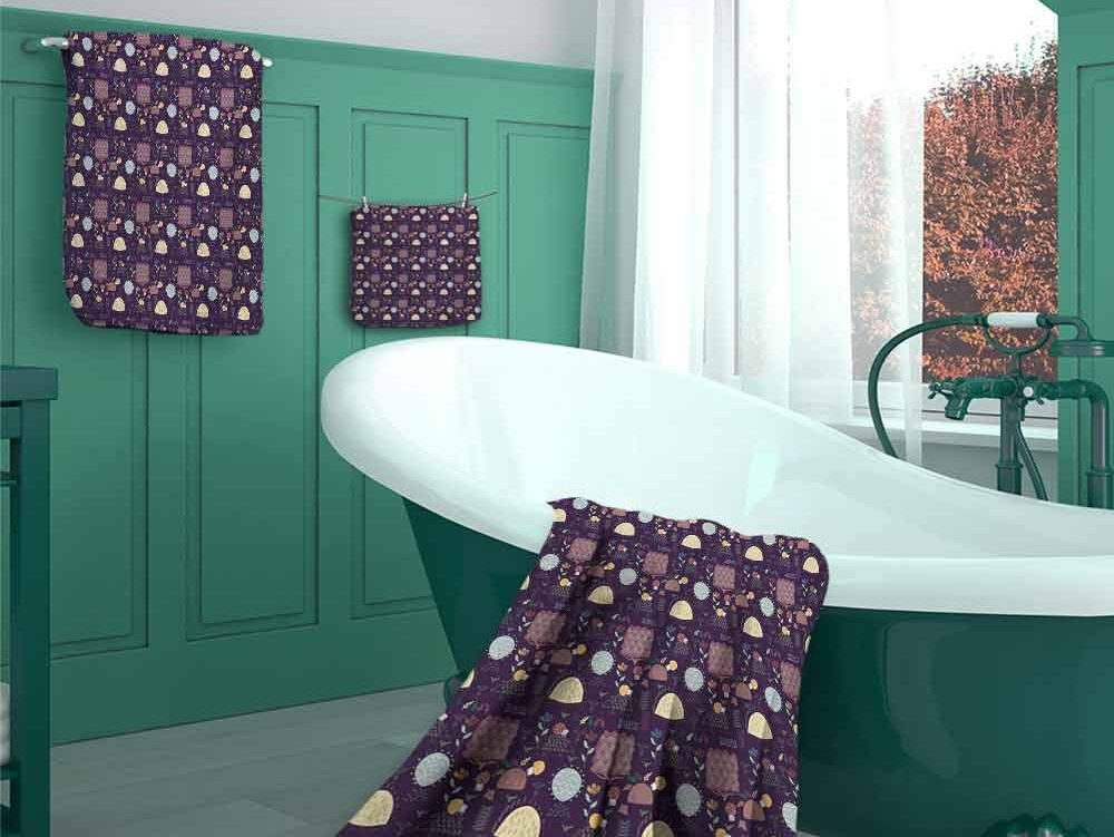 Hedgehog Cotton Bath Towels Set of 3