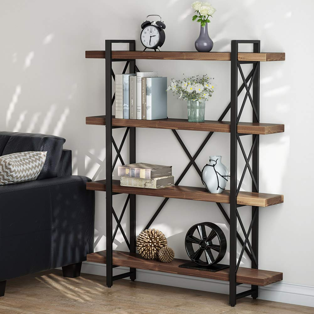 LITTLE TREE 47.2 Inches Solid Wood 4-Tier Shelf Bookcase
