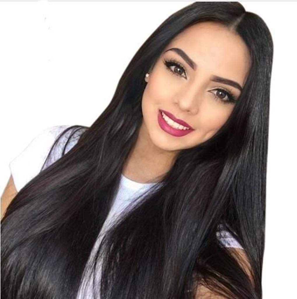 PINKSHOW Long Straight wig Black Lace Front Wig for Women
