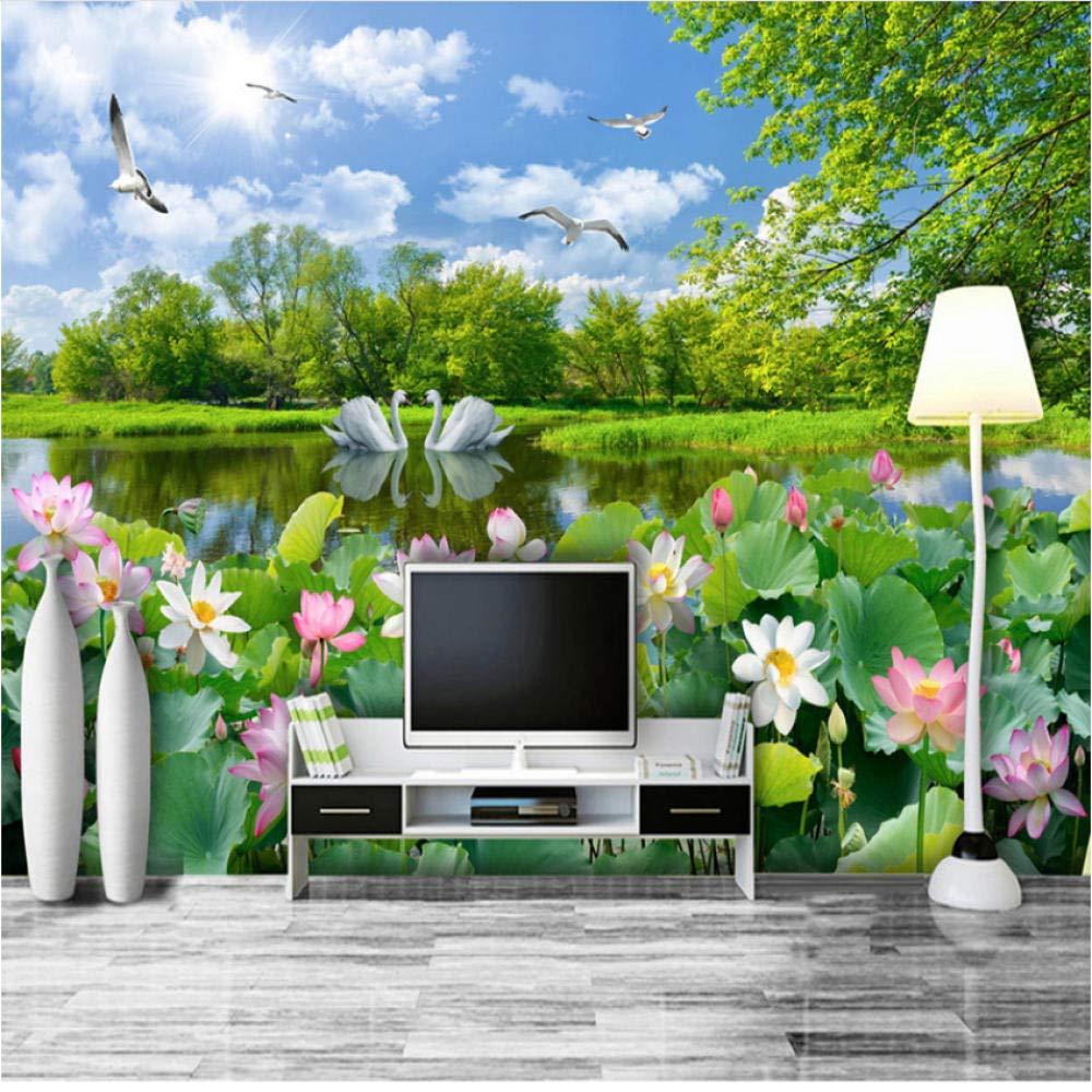 Custom Photo Wallpaper Lotus Pond Swan Lake Nature Landscape Large Murals