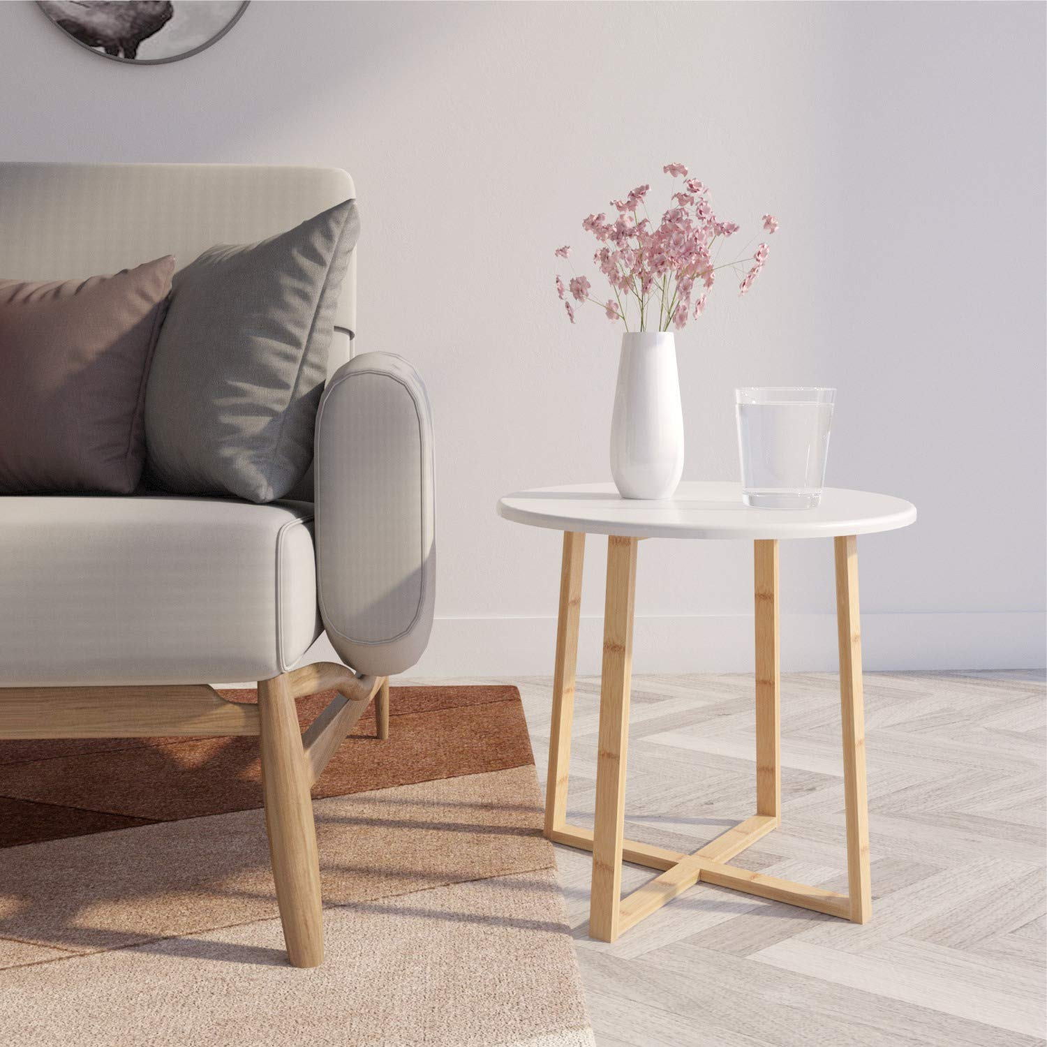 BAMEOS Side Table Modern Nightstand Round Side End Accent Coffee Table
