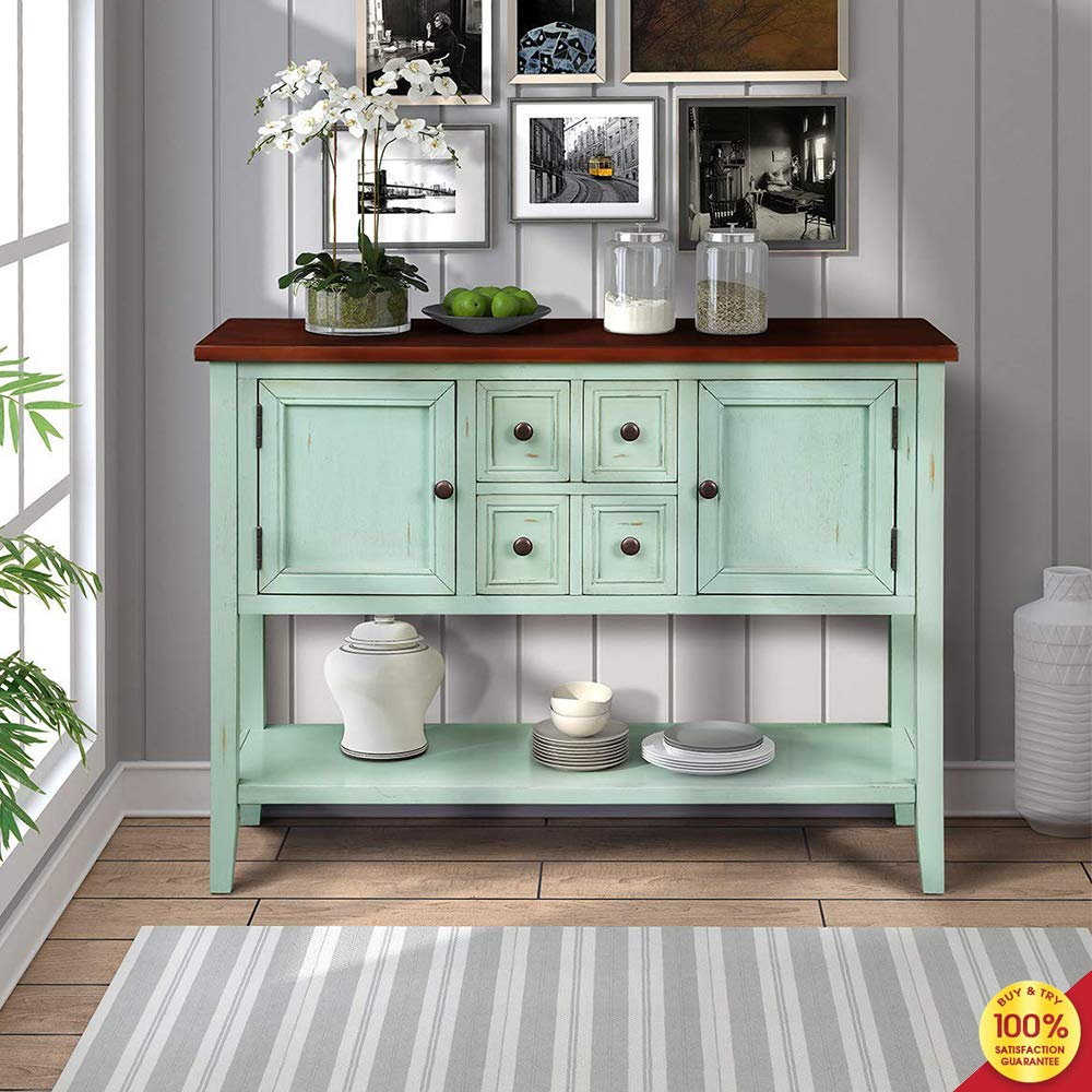 MIERES 1 Retro Console Table Drawers Living Room