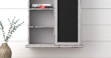 Stone & Beam Vintage Farmhouse Wood Floating Wall Storage Cabinet with Chalkboard
