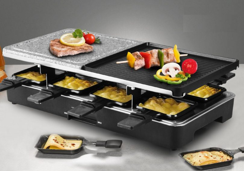 Artestia Electric Raclette Grill with Two Half Top Plates