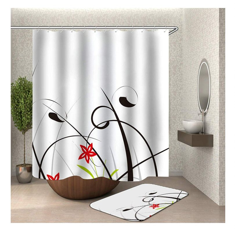 """Gnzoe Polyester Hotel Quality 2 Pcs Shower Curtain and 16""""x24"""" Rug Set Colorful Grass Flower 66×72 in"""