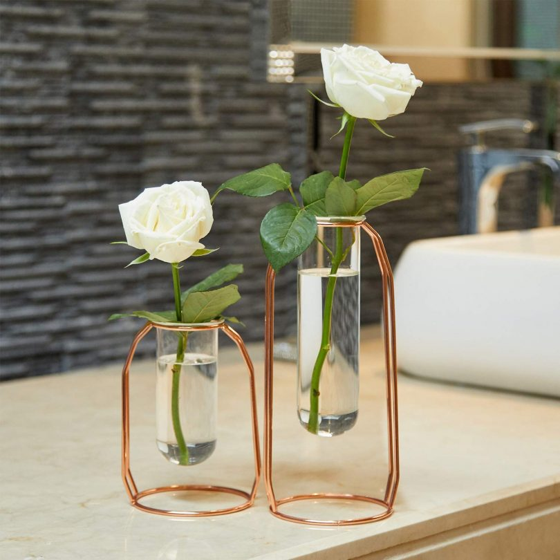 PuTwo Vases Set of 2 Metal Flower Vase Glass