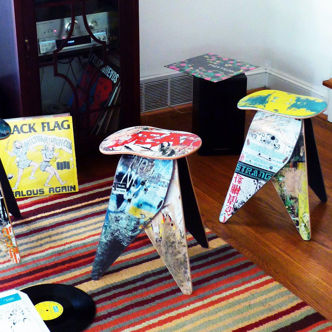 Deckstool Recycled Skateboard Stool