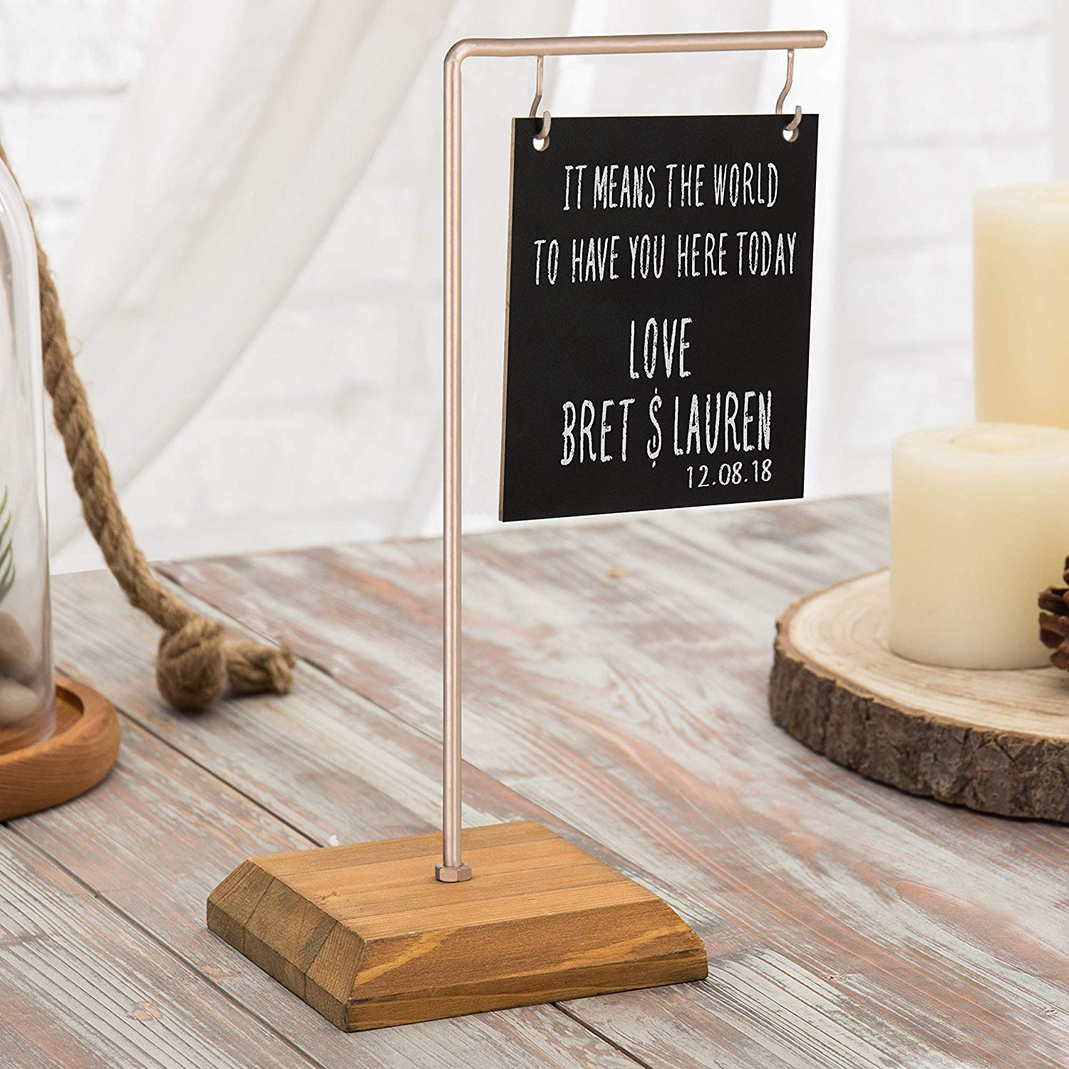 MyGift Tabletop Dual-Sided Chalkboard Sign with Rose Gold-Tone Metal & Wood Stand