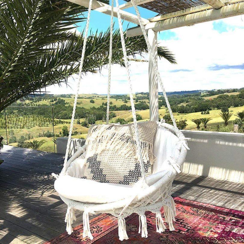 Hammock Chair Macrame Swing 265 Pound Capacity Handmade Knitted Hanging Swing Chair