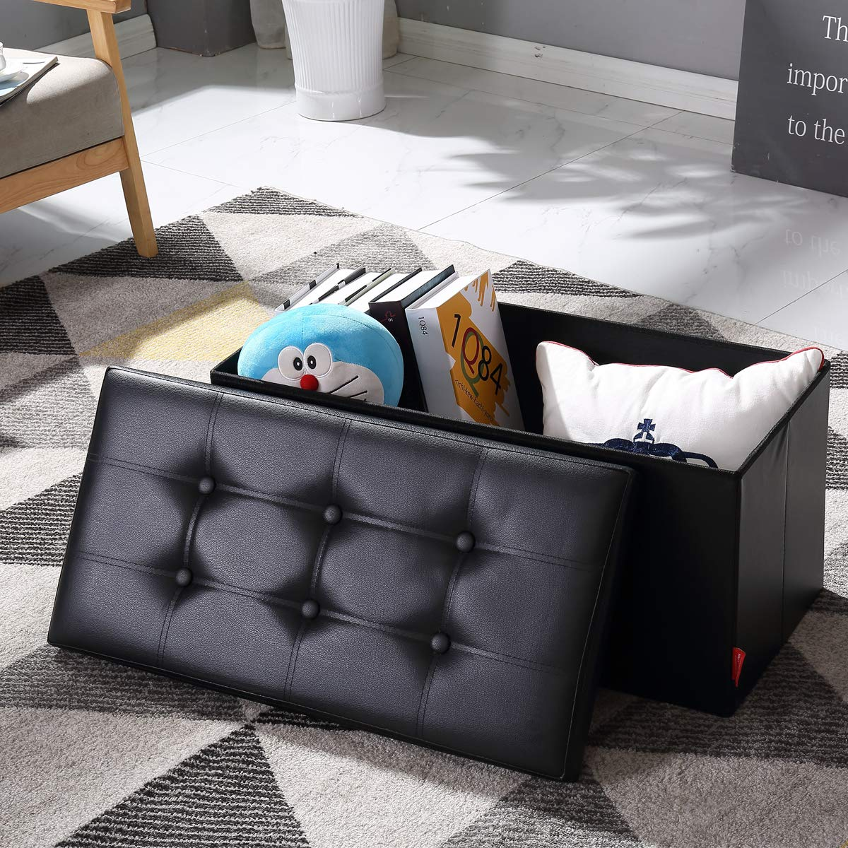 BRIAN & DANY 30L Faux Leather Folding Storage Ottoman Bench