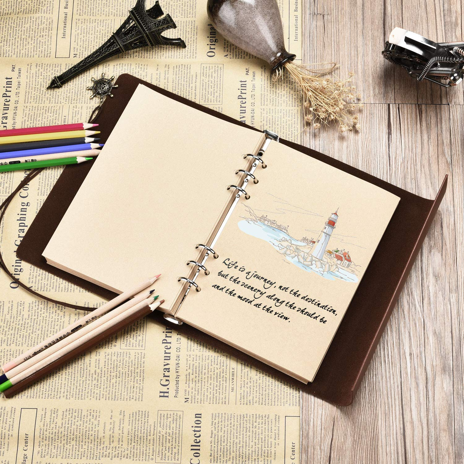 """A5 Leather Notebook SEEHAN Blank Pages Journal Notebook"""" World Map"""""""