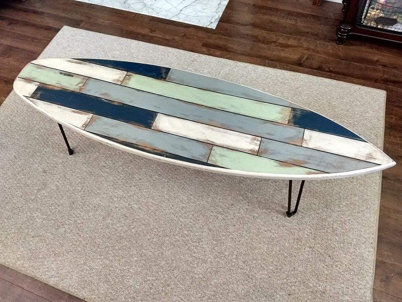 Faux Pallet Wood Surfboard Coffee Table