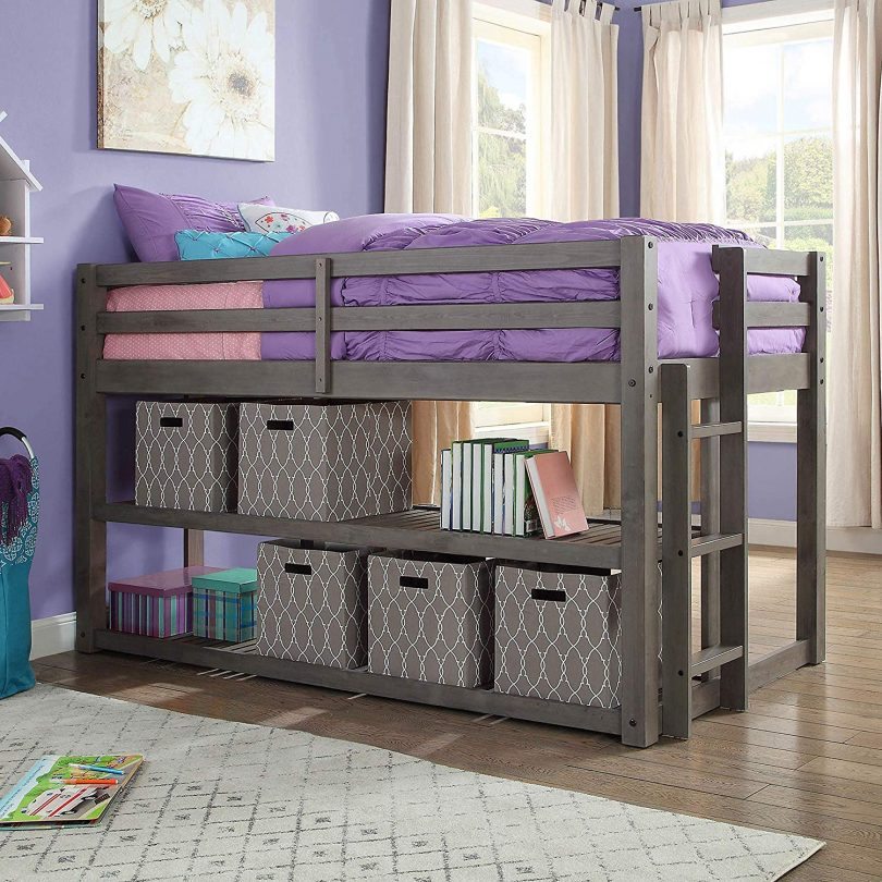 Better Homes and Gardens Loft Storage Bed with Spacious Storage Shelves