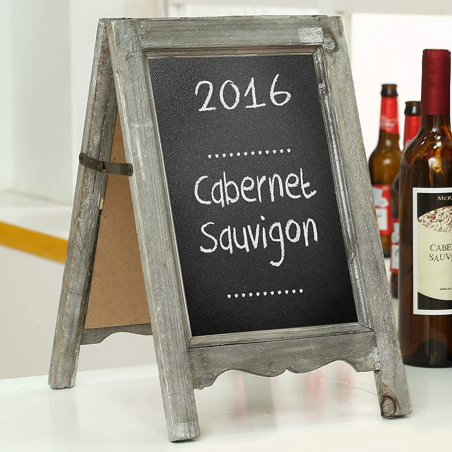 MyGift Small Wood A-Frame Double-Sided Chalkboard Sign