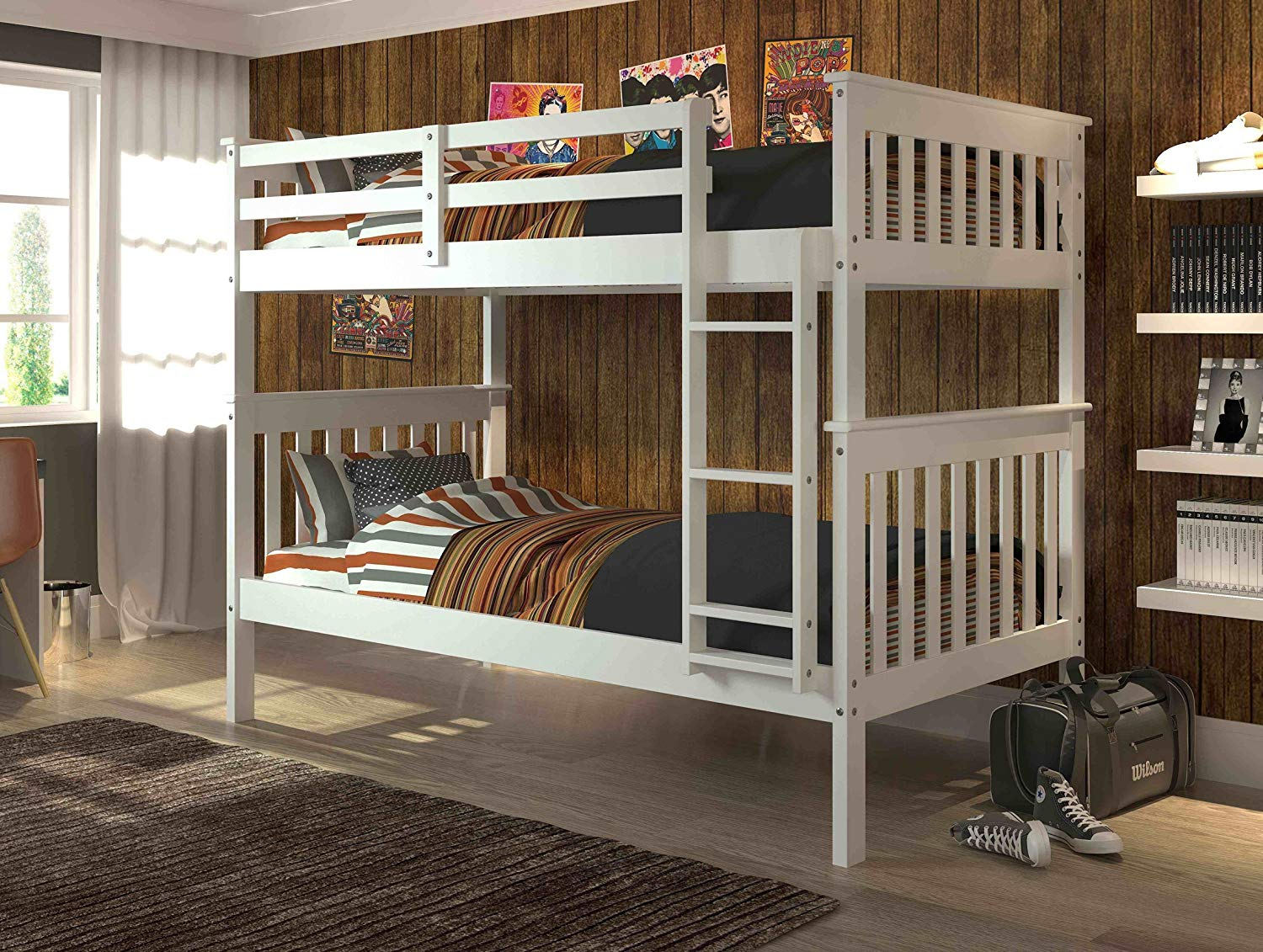DONCO KIDS Twin Over Twin Mission Bunkbed in White
