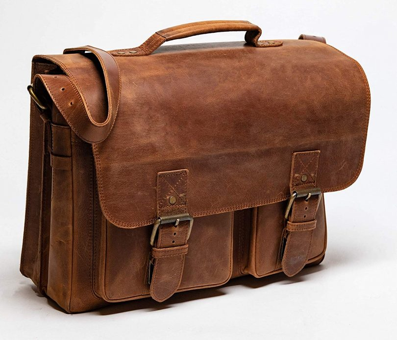 HIDES Front Pocket Leather Briefcase
