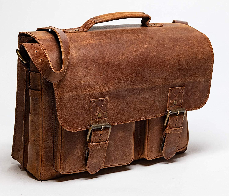 HIDES Front Pocket Leather Briefcase