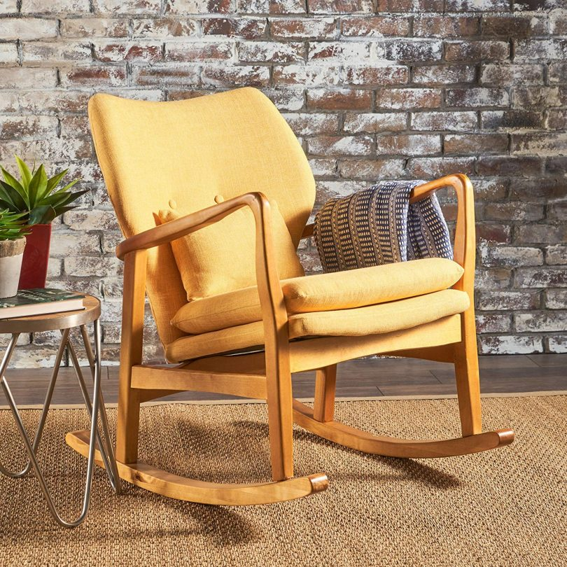 Christopher Knight Home 302101 Balen Mid Century Modern Fabric Rocking Chair