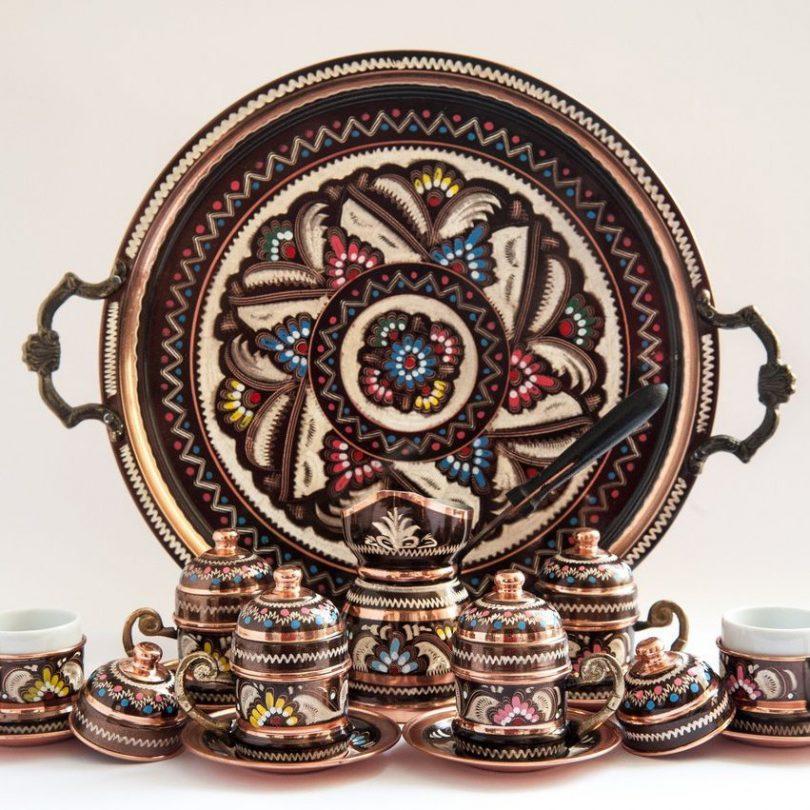 Turkish Luxury Ottoman Hand-Painted Copper Coffee Set
