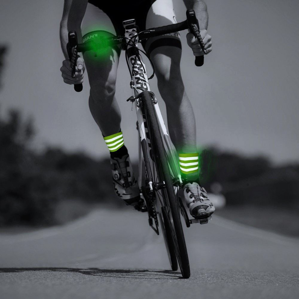 Night riding reflective arm with leggings harness belt
