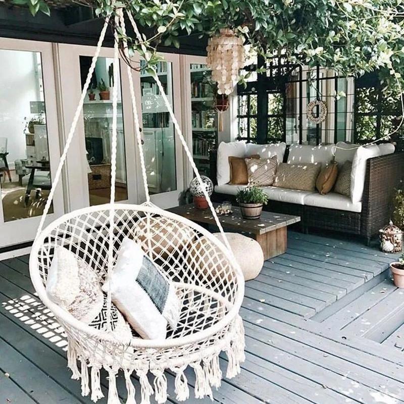 Boho Style Knitted Round Swing