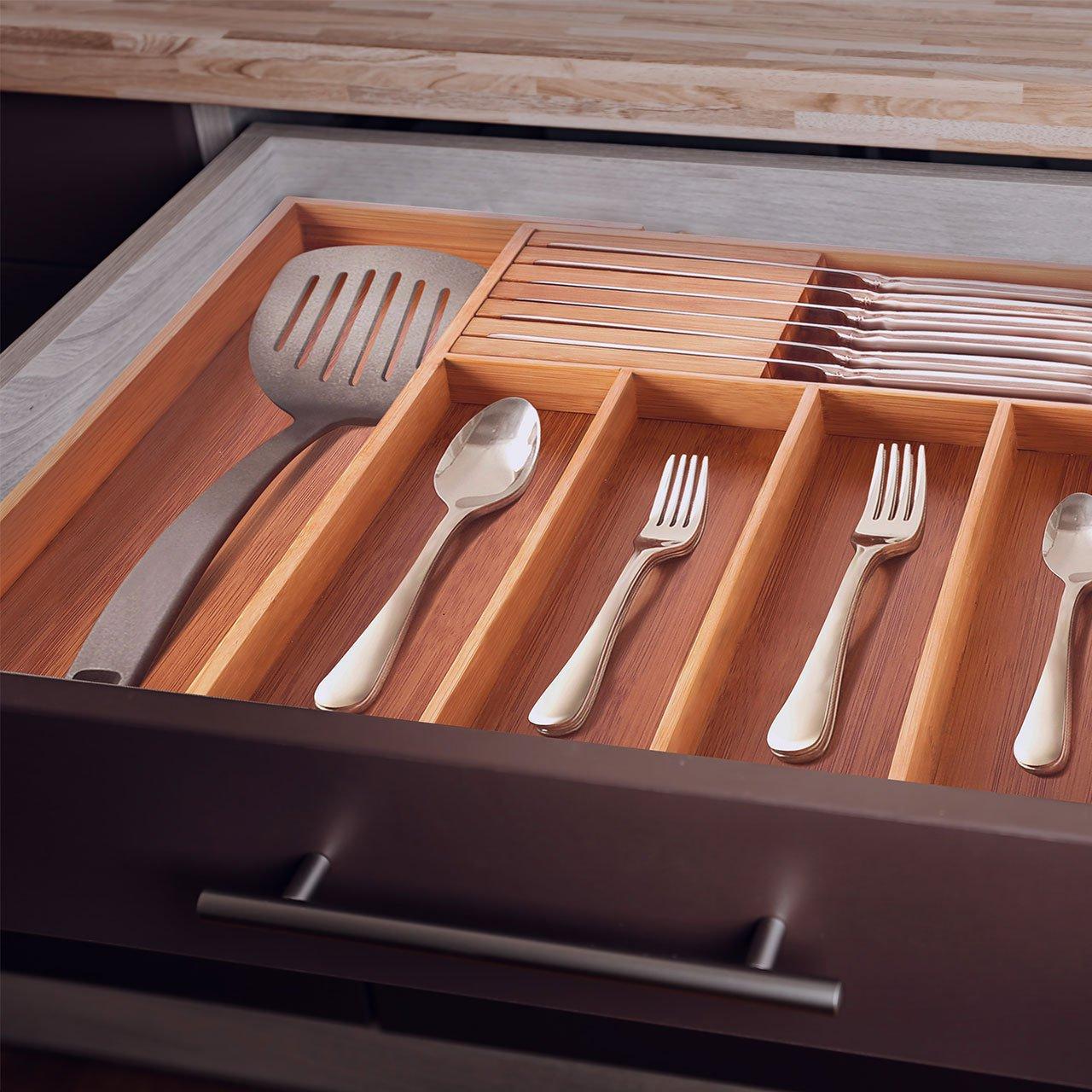 Utensil Drawer Organizer Bamboo Flatware Organizer Expandable Kitchen Silverware Organizer Cutlery Tray