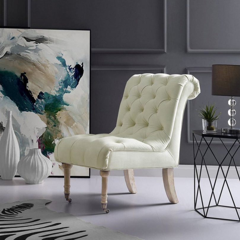 Dolly Velvet Armless Accent Chair